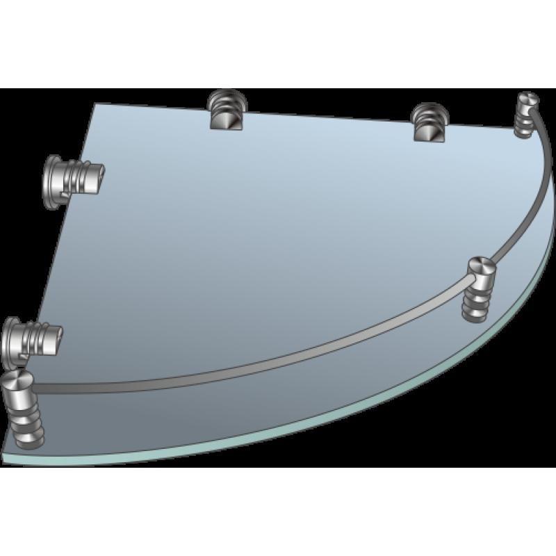 Полка стеклянная угловая матовая с рамкой ограничителем  ПУОМ 300х300