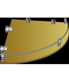 Полка стеклянная угловая тонированная с рамкой ограничителем  ПУОТ 250х250