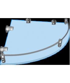 Полка стеклянная угловая с рамкой ограничителем  ПУО 250х250
