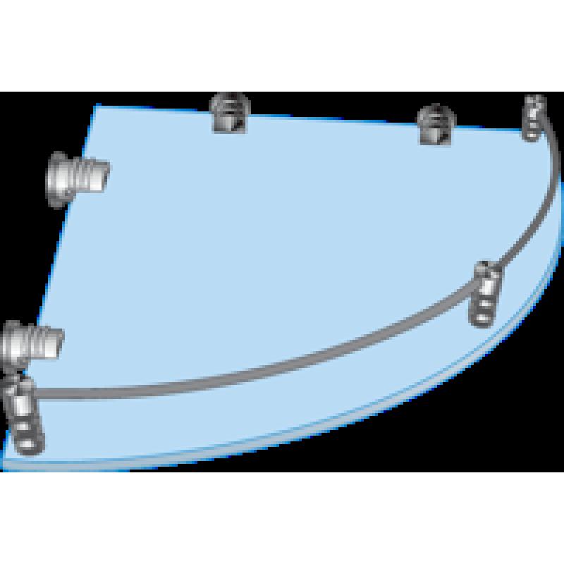 Полка стеклянная угловая с рамкой ограничителем  ПУО 350х350