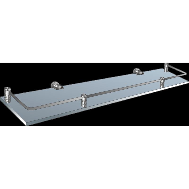 Полка стеклянная прямая матированная с рамкой ограничителем ППОМ 600х150