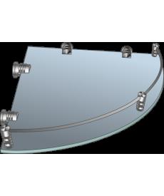 Полка стеклянная угловая матовая с рамкой ограничителем  ПУОМ 250х250