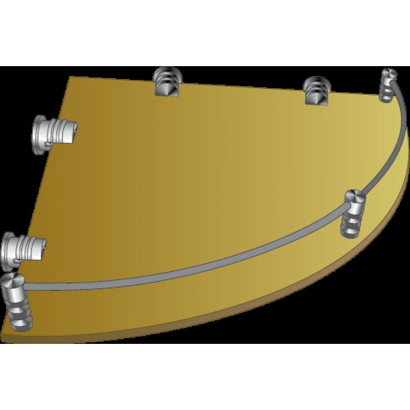 Полка стеклянная угловая тонированная с рамкой ограничителем  ПУОТ 350х350